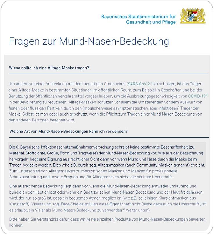bayerisches gesundheitsministerium tragen von masken empfehlung gesundheit und pflege covid vorbeugung