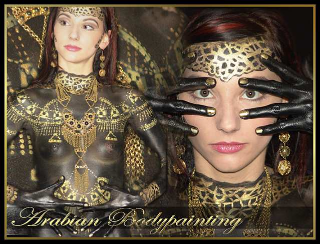arabian girl bodypainting, painted black and gold with jewlery