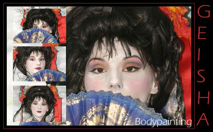 geisha, chinesiches Bodypainting mit Antje, china bodypaint with Antje