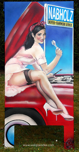 Pin-up Girl, pinup mädchen, pinup art, pin-up art, erotic art, erotische Kunst, Frauenbilder, frauenbild, erotische gemälde, pin up, by Christine Dumbsky, webparadise , nabholz, no parking, parkschein zerreissen, parken verboten, good year tires